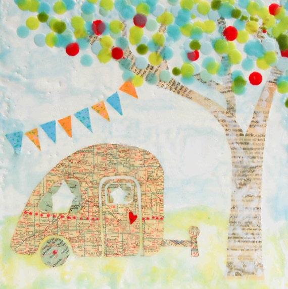 Happy CAMPER Art Print Mixed Media Art Collage Encaustic Vintage Map Painting Shabby Chic Retro Camper Summer
