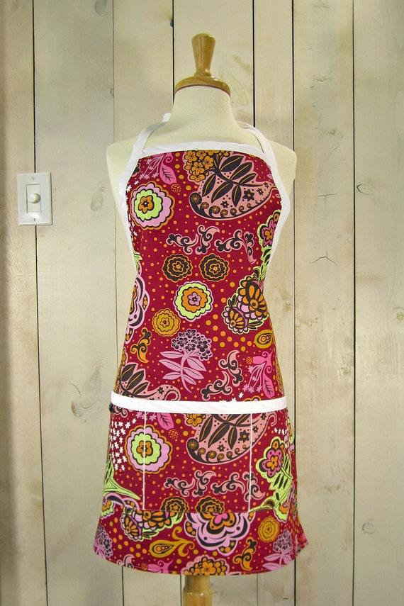 Floral Lollipop Women's Apron,  Reversible Apron, Full Apron, Apron with pockets --- SALE ---
