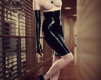 Latex Rubber High Waisted Pencil Skirt