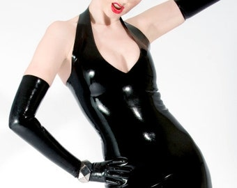 Black latex halterneck dress - maximum cleavage effect