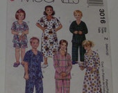 McCall's 3016 Children's Size Med-Lrg Nightshirt or Top, Pants or Shorts Pattern UNCUT