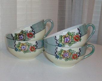 4 Lusterware Blue Teacups