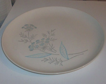 Maytime Dinner Plate with Aqua and Gray Flowers by Royal