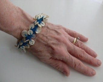 Crocheted Blue Button Bracelet for the Larger Wrist or Anklet
