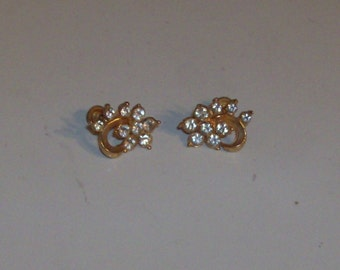 Goldtone Sparkly Rhinestone Earrings