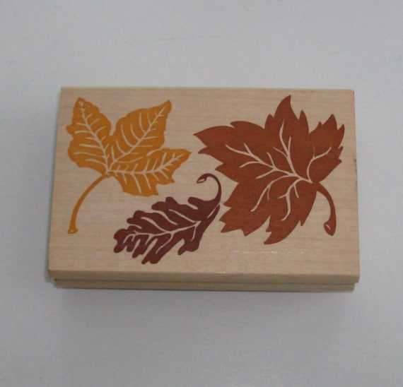 NEW Large Wooden Block Rubber Falling Leaves Stamp