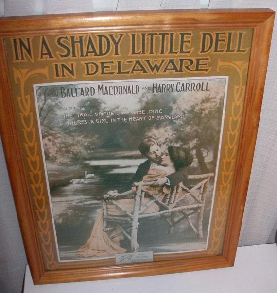 1914 In A Shady Little Dell In Delaware Framed Sheet Music