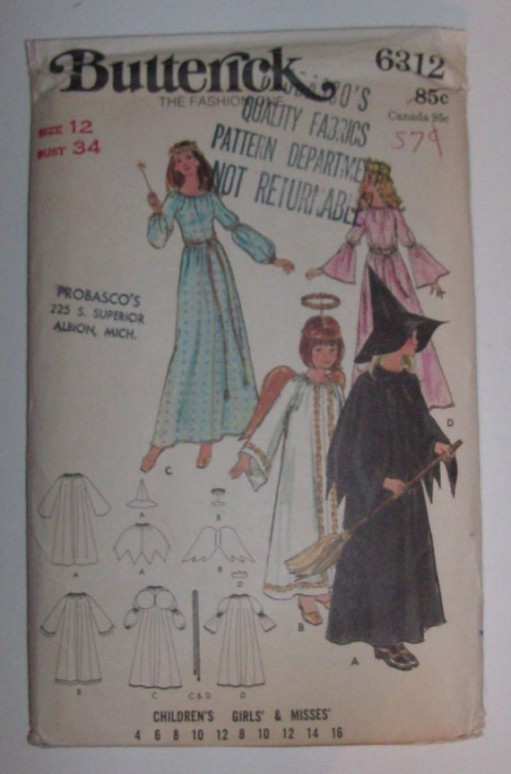 Butterick 6312 Size 12 Children's Witch, Angel, Fairy Godmother, Princess Costume Pattern UNCUT