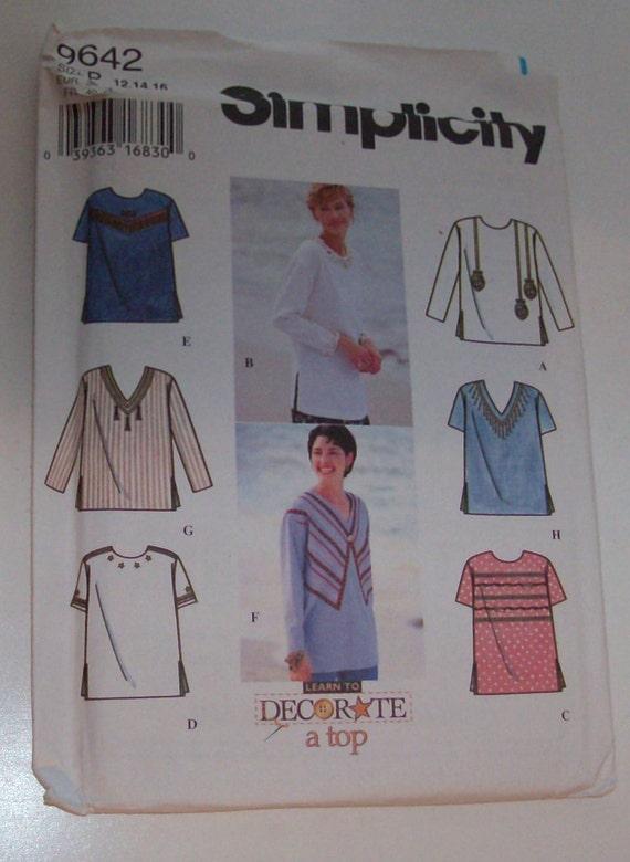 Simplicity 9642 Size Misses' 12, 14, 16 Top UNCUT