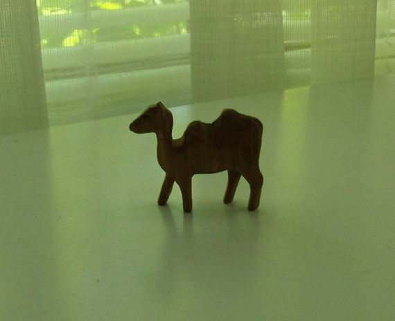 Tiny Hand Carved Wooden Camel Figurine