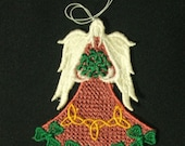 Angel Ornament, Celtic, Irish Angel, St. Patrick's Day, Embroidered Freestanding Lace