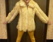 Vintage 70s Mongolian Lamb Fur Coat SZ S/M Shaggy Yeti winter white