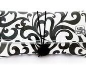Button Clutch - Classic black swirls vintage fabric
