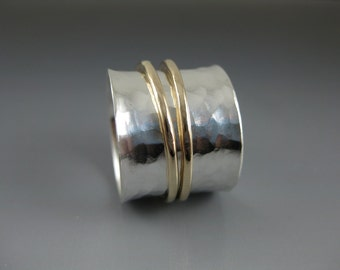 uber-wide silver spinner ring with two 14k gold-filled spinners, recycled gold and silver, sustainable jewelry, modern ring, wedding band
