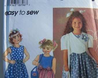 Girl's Dress, Jacket and Purse, Simplicity 7067 Sewing Pattern CLEARANCE,  Sleeveless Sundress with Full Skirt, Easy To Sew Size 5, 6, 6X