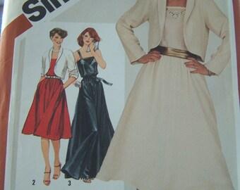 Vintage Simplicity 5318 CUT Sewing Pattern, SALE Misses' Pullover Sleeveless Dress, Maxi Dress and Bolero Jacket, Size 10 Pattern Destash