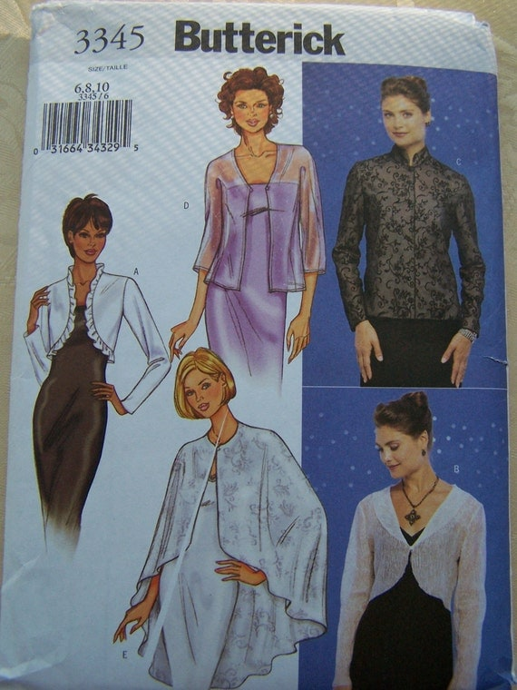 CLEARANCE, Butterick Pattern 3345- Misses Jacket and Cape, Elegant Evening Cover Up, Bridal Wear, Shrug, Bolero