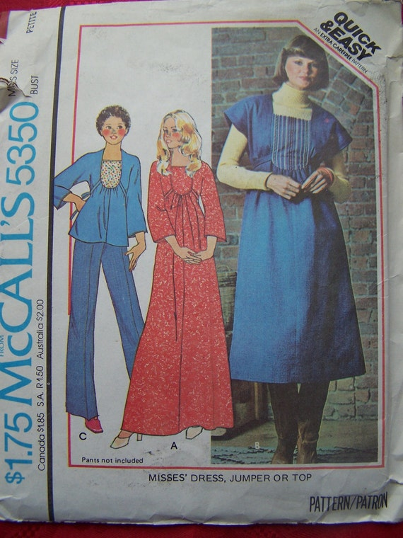 FINAL CLEARANCE Vintage 70's, Maxi Dress, Misses' Jumper, Sewing Pattern, Easy Sewing, Retro Top, McCall's 5350