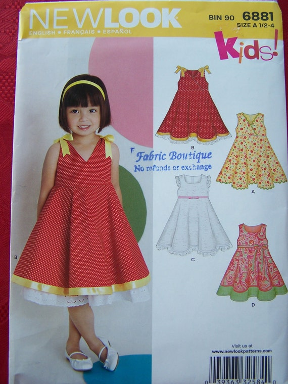 RESERVED FOR SUE- Girl's Sleeveless Dress Sewing Pattern, Sundress, Toddler Dress -New Look 6881