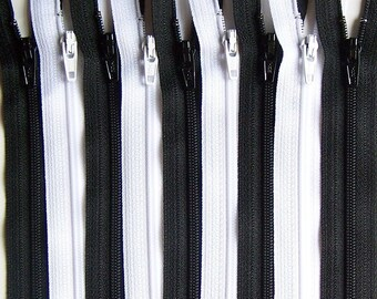 SALE Black and White 9 Inch YKK Zipper Bundle 50 Zippers