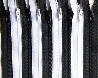 11 Inch Zippers- Black and White Bundle (10) Pieces- 5 of each color