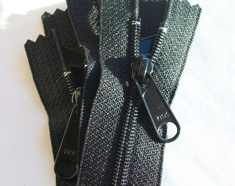 "18"" Long Pull YKK Handbag Zippers Color 580 Black 5 Pieces"