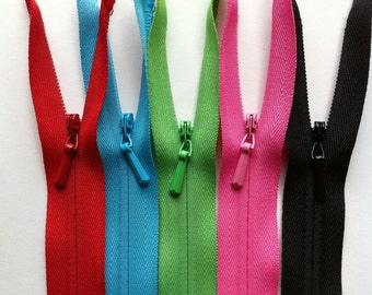 9 Inch INVISIBLE Zippers YKK 9 Piece Sampler Pack red, green, blue, pink, black, beige, white, gray and ivory