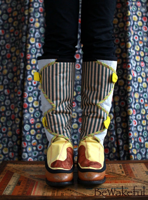 Cyber MondayStriped Yellow boots Spats Reserved / clearance