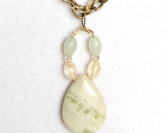 Twisted Chain Necklace with Gemstone Pendant, Jade Teardrop and Flourite Pendant Necklace, Multi Strand Necklace