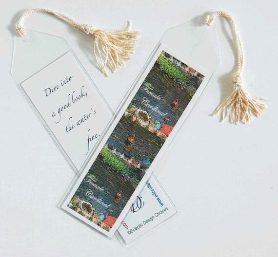 Birds n Water Mini Art Bookmark, Large with Tassel, Lesser Scaup, mallard, American wigeon, cardinal, American coot, ducks, water birds