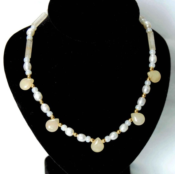 Pearl and Gemstone Necklace, Dainty Pearl Necklace, Cream White Gold and Pastel Necklace, Elegant Freshwater Pearl Necklace, June Birthstone