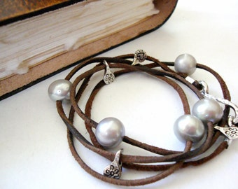 Large Pearl Leather necklace wrap bracelet sterling