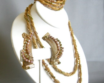 Rare vintage four piece Hobe gold tone mesh set with necklace, bracelet, and clip on earrings, parure
