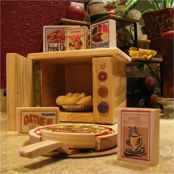 Microwave Minute - 15 piece all wood play food and microwave