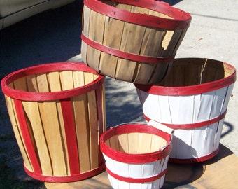 Vintage 4 Bushel Baskets...Instant Collection...Primitive Christmas..Natural Patina...Harvest...Gathering Baskets..Country Wedding..Autumn