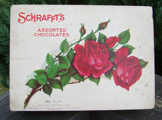 Vintage Mid Century Schrafft's Assorted Chocolate Candy Box circa late 1950's