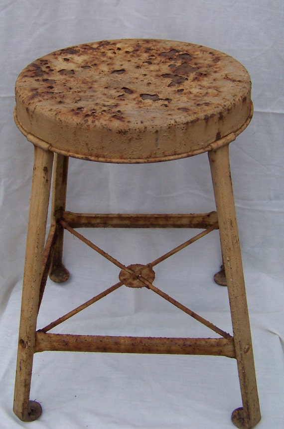 Mid Century Salvaged Rustic Chippy Industrial Stool Factory Chic Barnhouse Decor