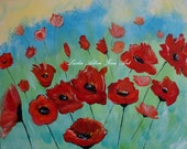 "Tangerine Tango Poppy Poppies Orange Red Painting Poppie Abstract Flowers Floral ""Tango Poppies"" Original  Floral Flowers"