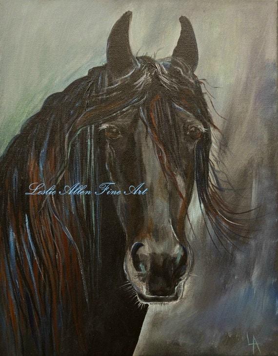 "Horse Painting Horse Art Print Wall Art Painting Horses Friesian Stallion Brumby Abstract  ""Friesian Fancy"" Leslie Allen Fine Art"