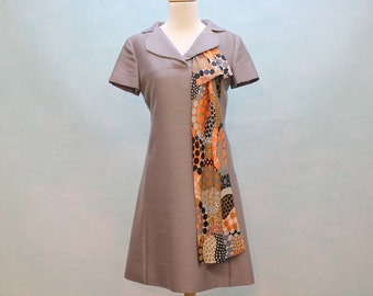 60's  Mod Designer Dress / A Line Dress With Abstract Scarf / Shannon Rodgers / XSmall to Small