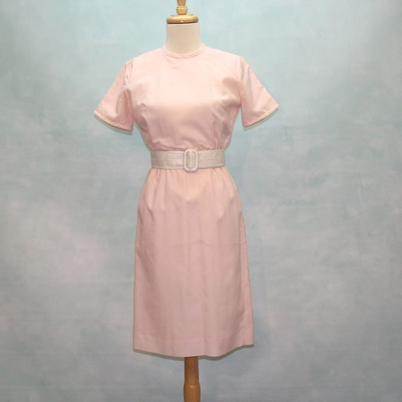60's Pink Wiggle Dress - Polyester Crepe  - XSmall to Small