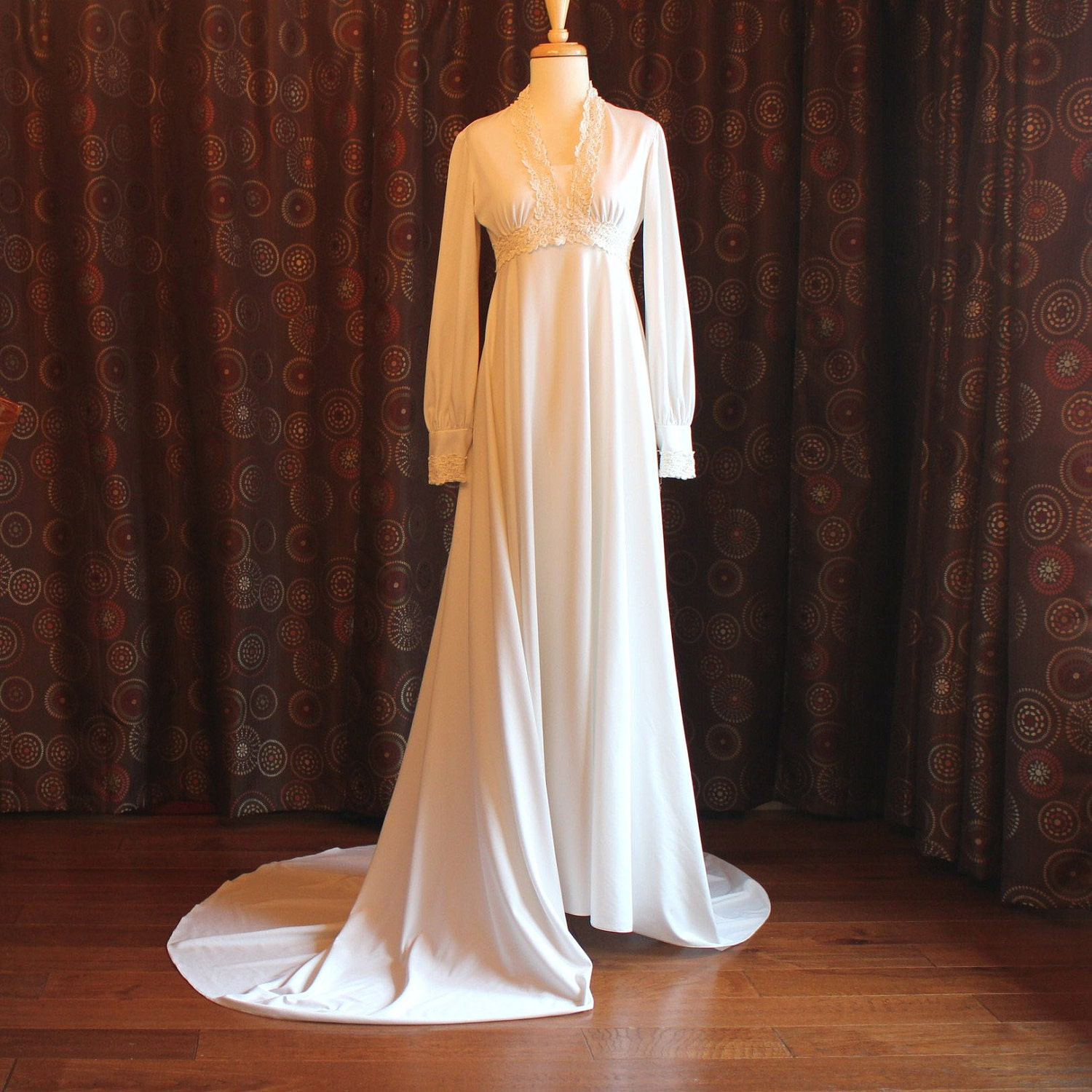 70's Empire Waist Jersey Knit Wedding Gown With Train
