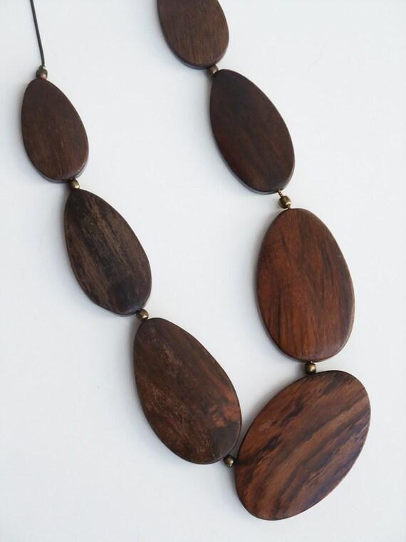 Vintage Dark Wood Teak  Beads Necklace