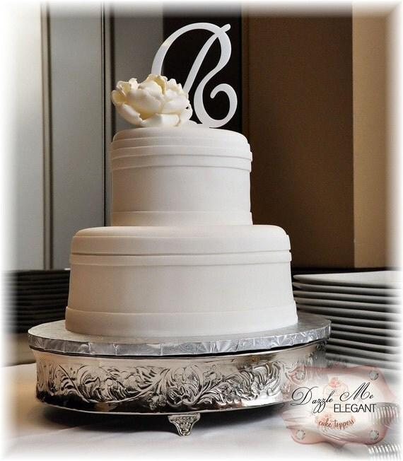 White Cake Topper - Wedding Cake Topper - White Personalized Monogram Letter Cake Topper - Custom Wedding Cake Topper - Bride and Groom