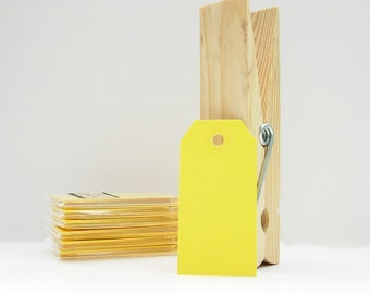 10 Small Gift Tags Shipping Tags Parcel Tags - Yellow Tags