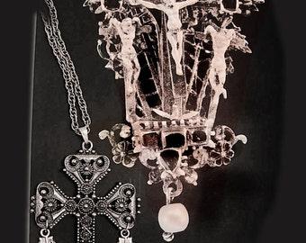 Vintage Medieval OPAL Knights HUGE Etruscan chandelier Gothic cross necklace