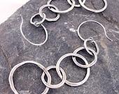 Hammered Sterling Silver Linked Rings Long Dangle Earrings