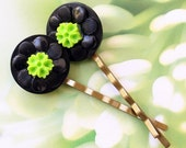 Black with Lime green Hair pins