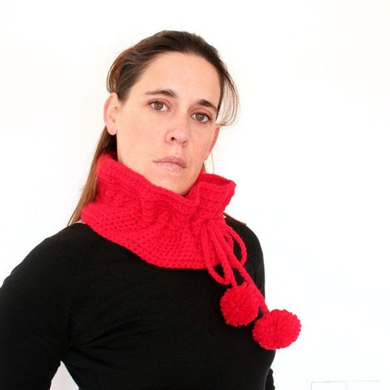 80% SALE // Hot Red ruffle crochet cowl Scarf with Pom Poms and Bow tie