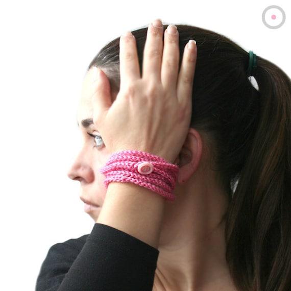 50% SALE // Pink crochet Bracelet